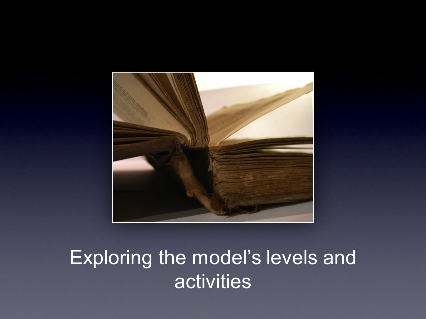Exploring the model's levels and activities