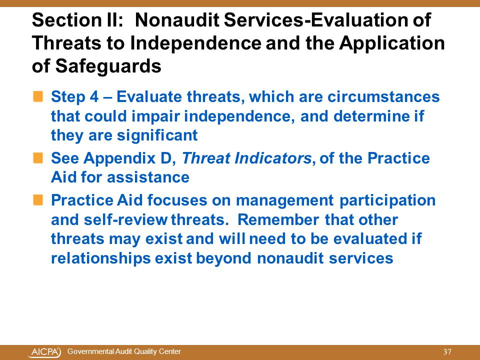 Section II: Nonaudit Services-Evaluation of Threats to Independence and the Application of Safeguards