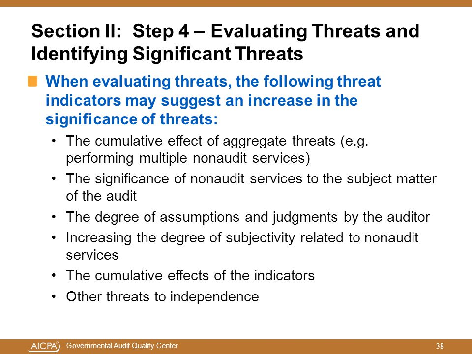 Section II: Step 4 – Evaluating Threats and Identifying Significant Threats