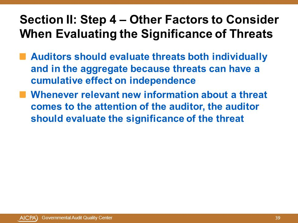 Section II: Step 4 – Other Factors to Consider When Evaluating the Significance of Threats