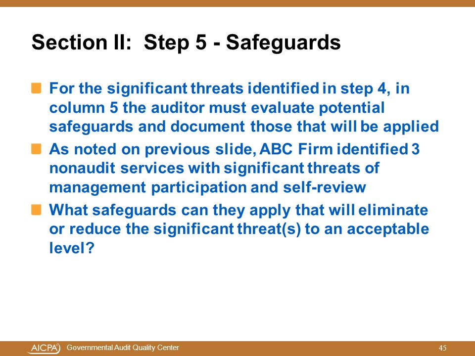 Section II: Step 5 - Safeguards