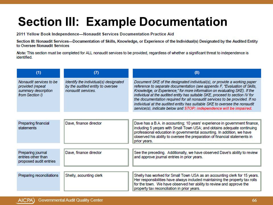 Section III: Example Documentation
