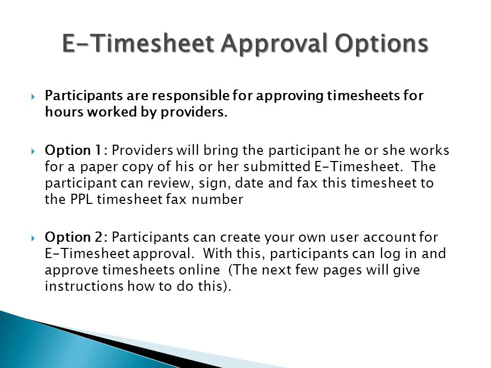 E-Timesheet Approval Options