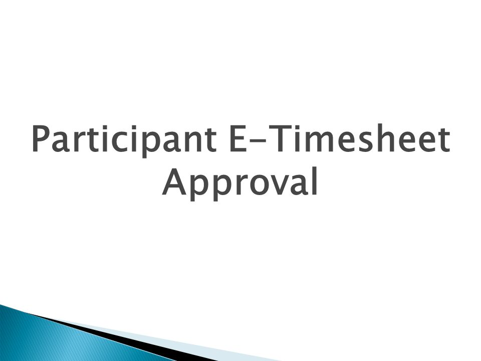 Participant E-Timesheet Approval