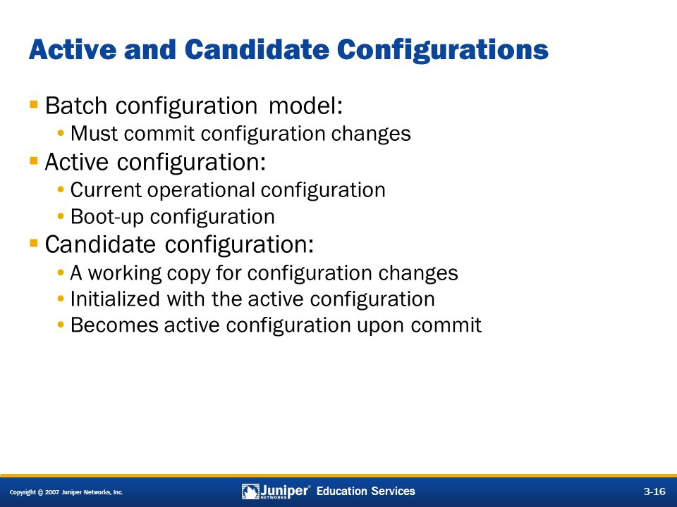 Active and Candidate Configurations