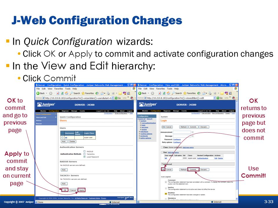 J-Web Configuration Changes