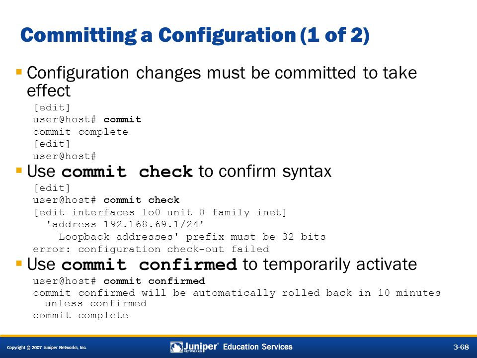 Committing a Configuration (1 of 2)