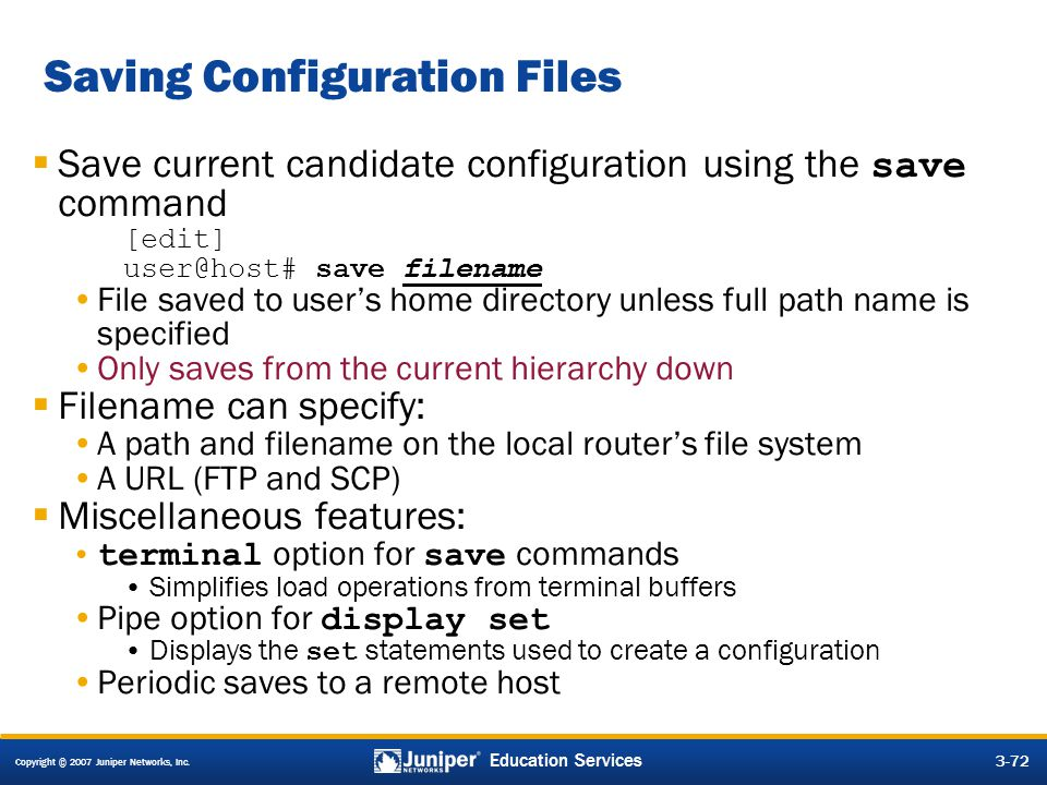 Saving Configuration Files