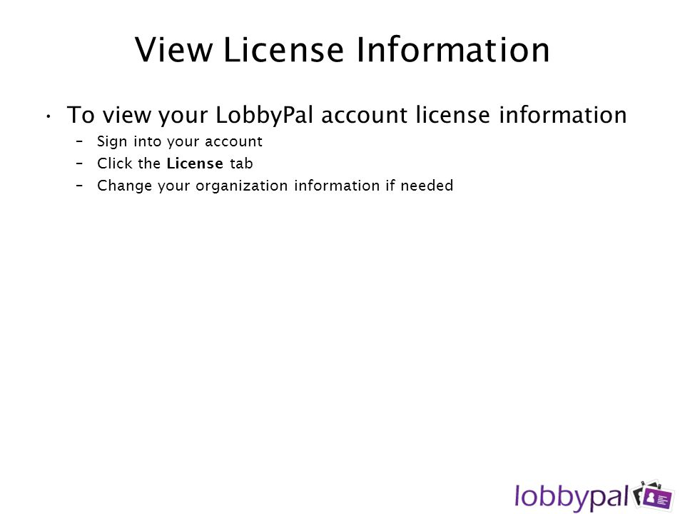 View License Information
