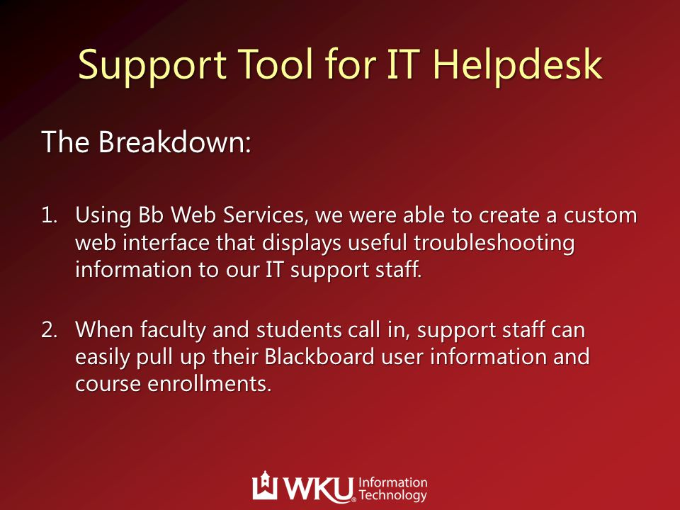 Support Tool For IT Helpdesk