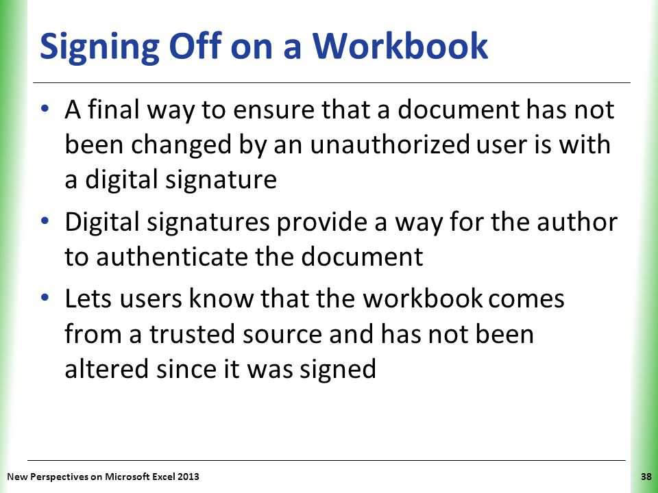 Signing Off on a Workbook