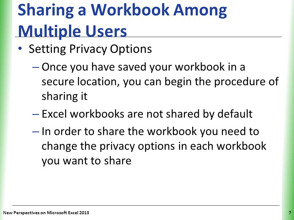 Sharing a Workbook Among Multiple Users