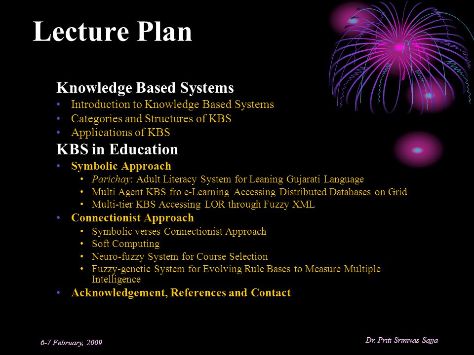 Lecture Plan Knowledge Based Systems KBS in Education