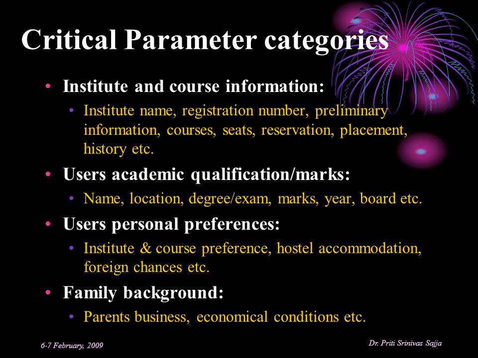 Critical Parameter categories