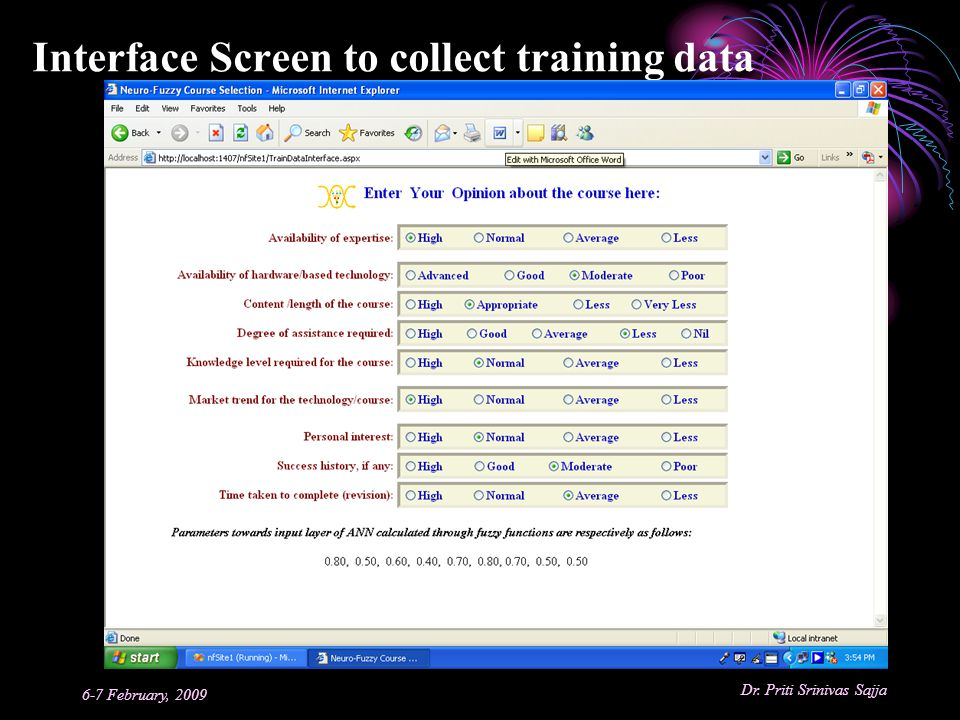 Interface Screen to collect training data