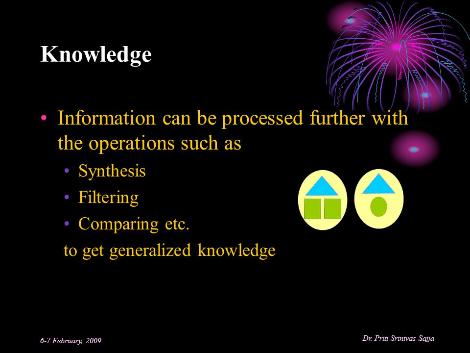 Knowledge Information can be processed further with the operations such as. Synthesis. Filtering.