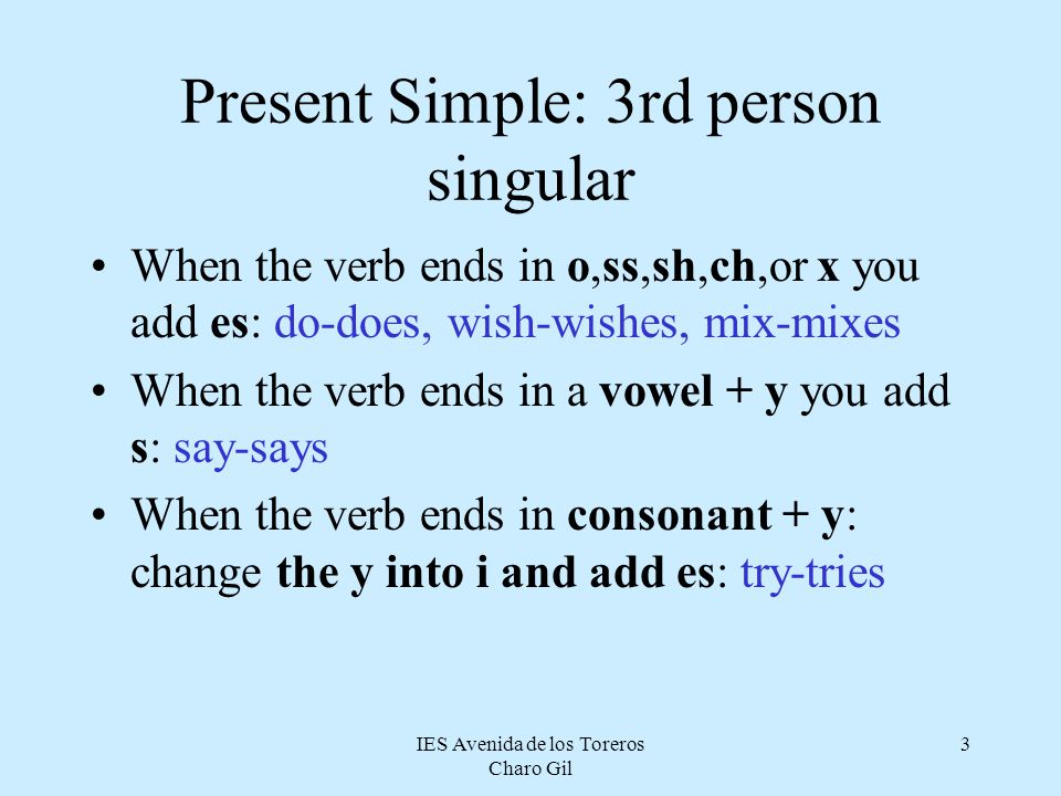 Present Simple: 3rd person singular