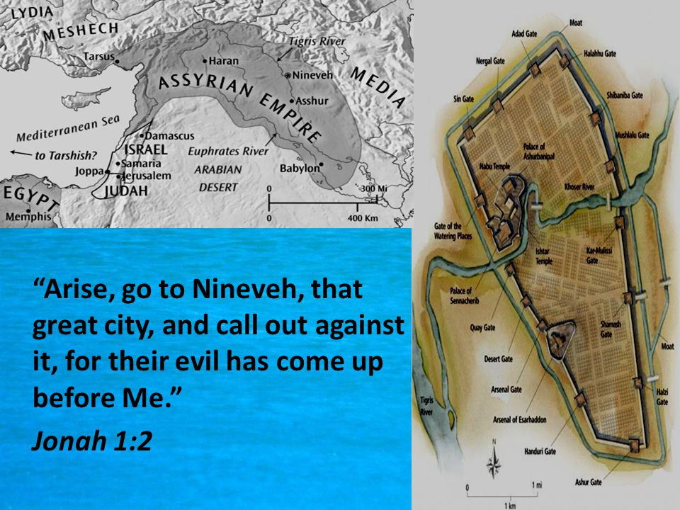 Arise, go to Nineveh, that great city, and call out against it, for their evil has come up before Me. Jonah 1:2