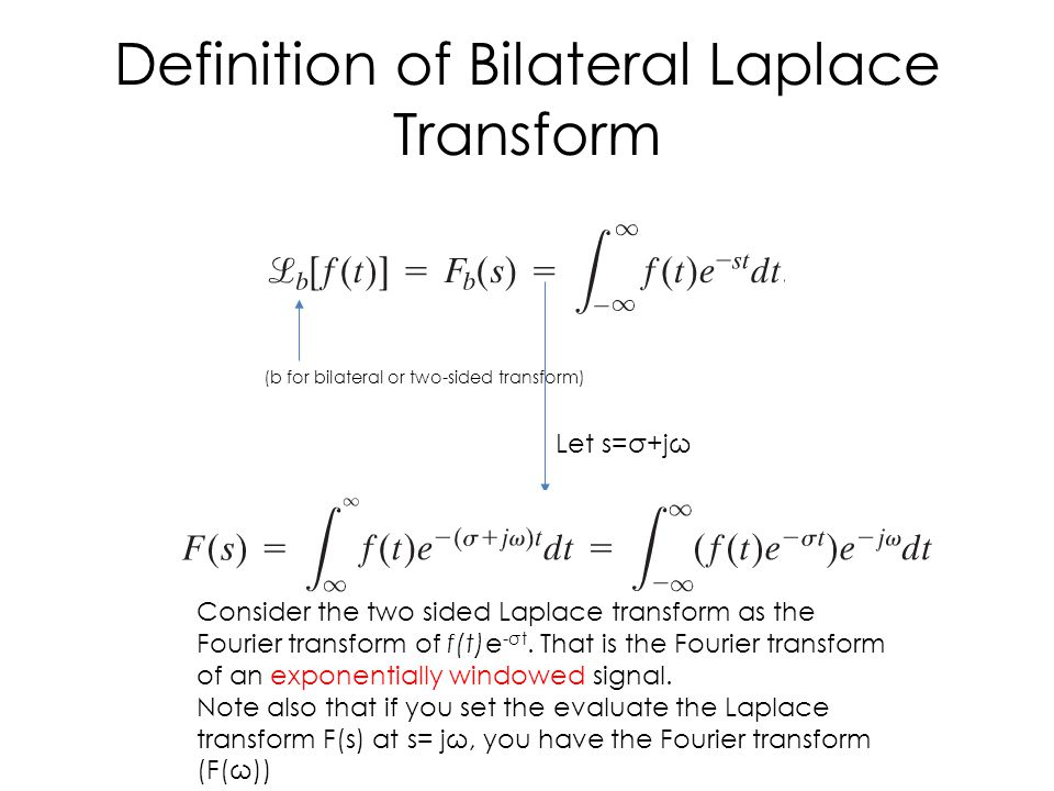 Definition of Bilateral Laplace Transform