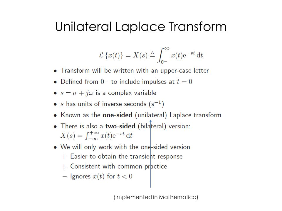 Unilateral Laplace Transform
