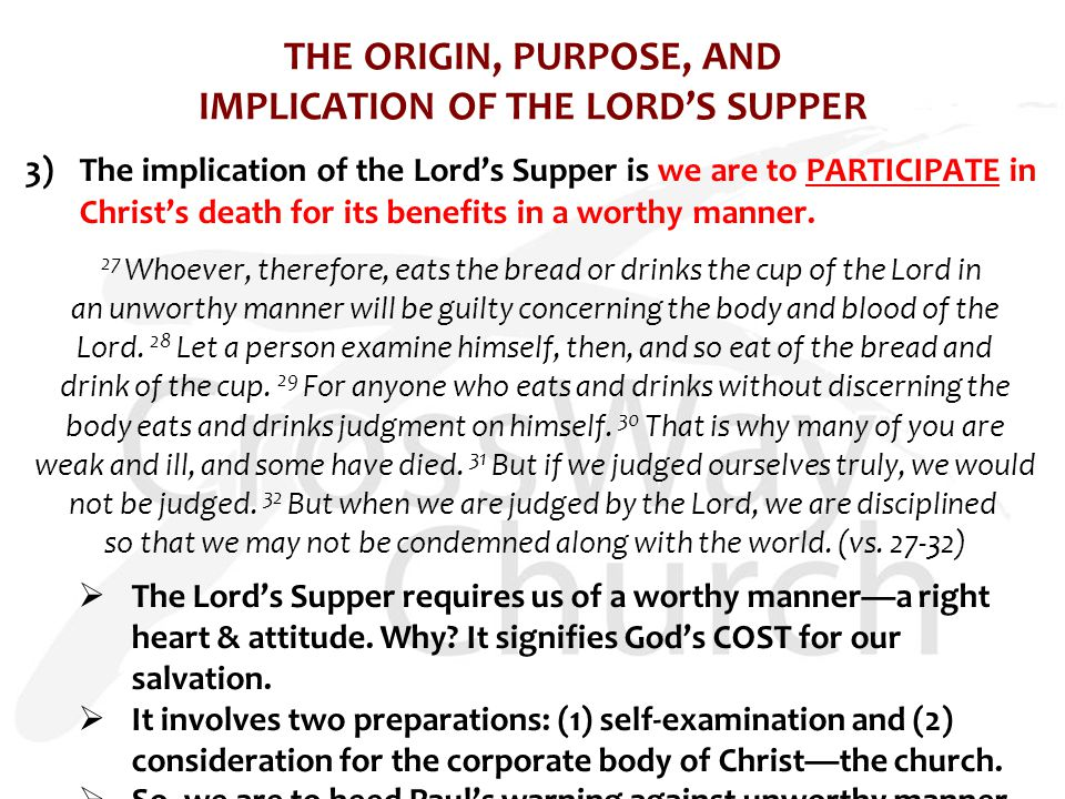 THE ORIGIN, PURPOSE, AND IMPLICATION OF THE LORD'S SUPPER