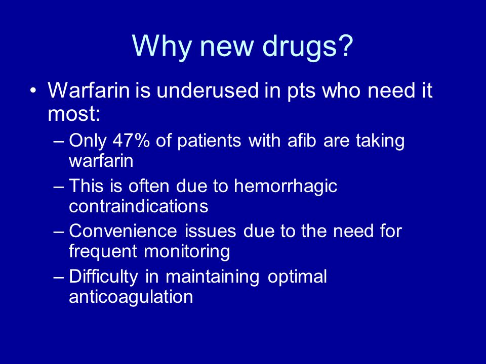 Why new drugs Warfarin is underused in pts who need it most: