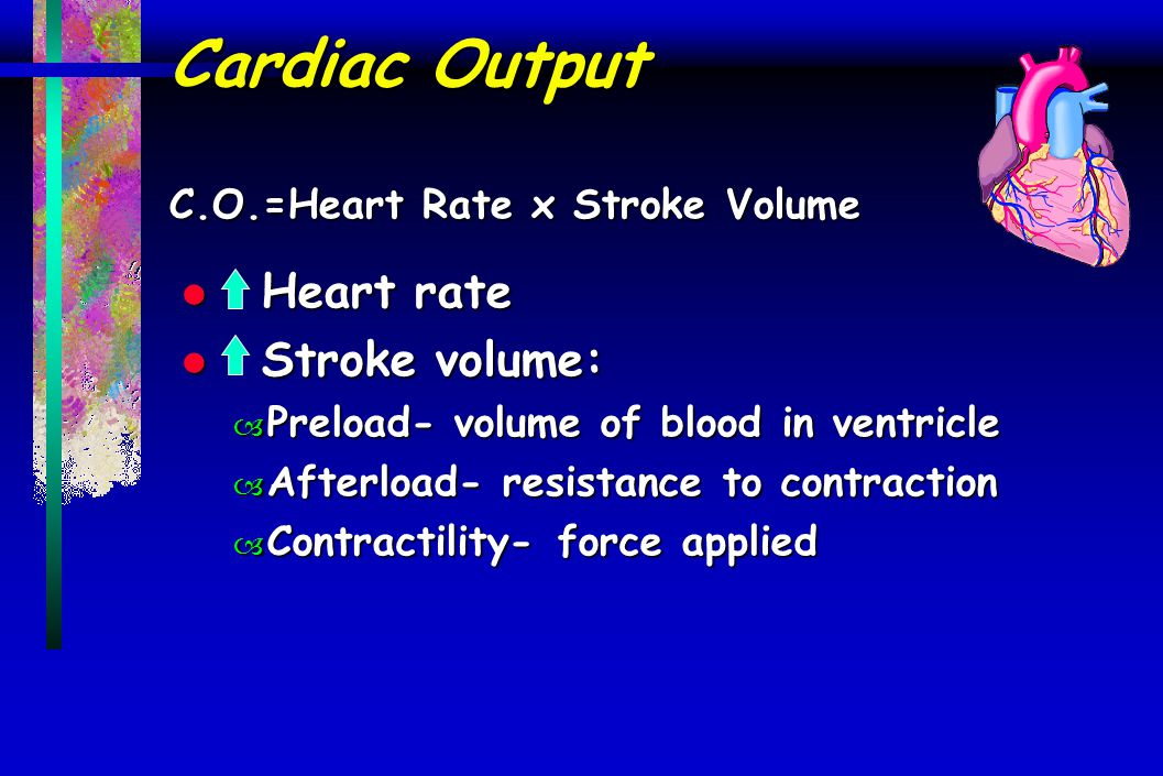 Cardiac Output C.O.=Heart Rate x Stroke Volume