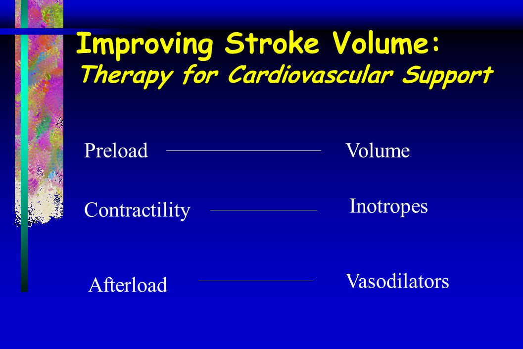 Improving Stroke Volume: Therapy for Cardiovascular Support