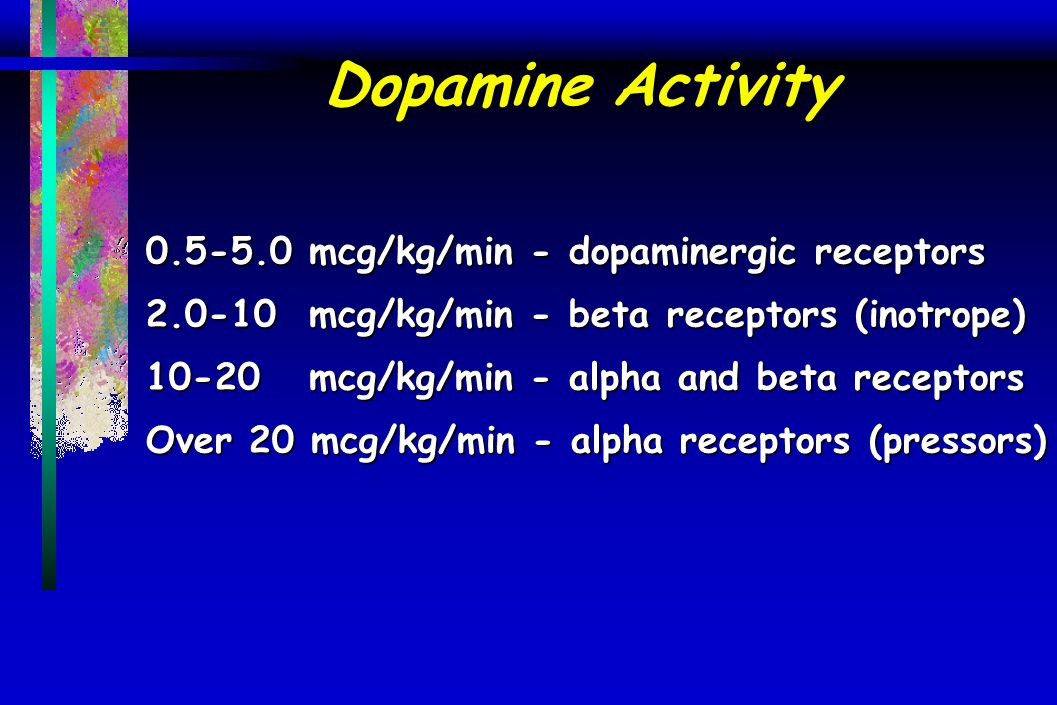 Dopamine Activity 0.5-5.0 mcg/kg/min - dopaminergic receptors