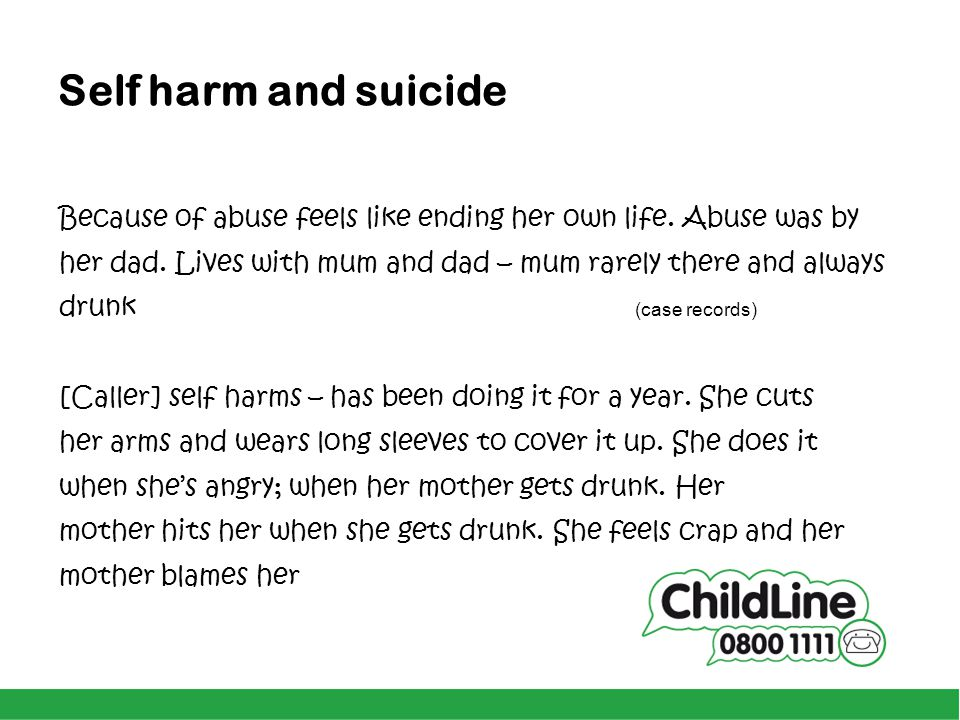 Self harm and suicide Because of abuse feels like ending her own life. Abuse was by. her dad. Lives with mum and dad – mum rarely there and always.