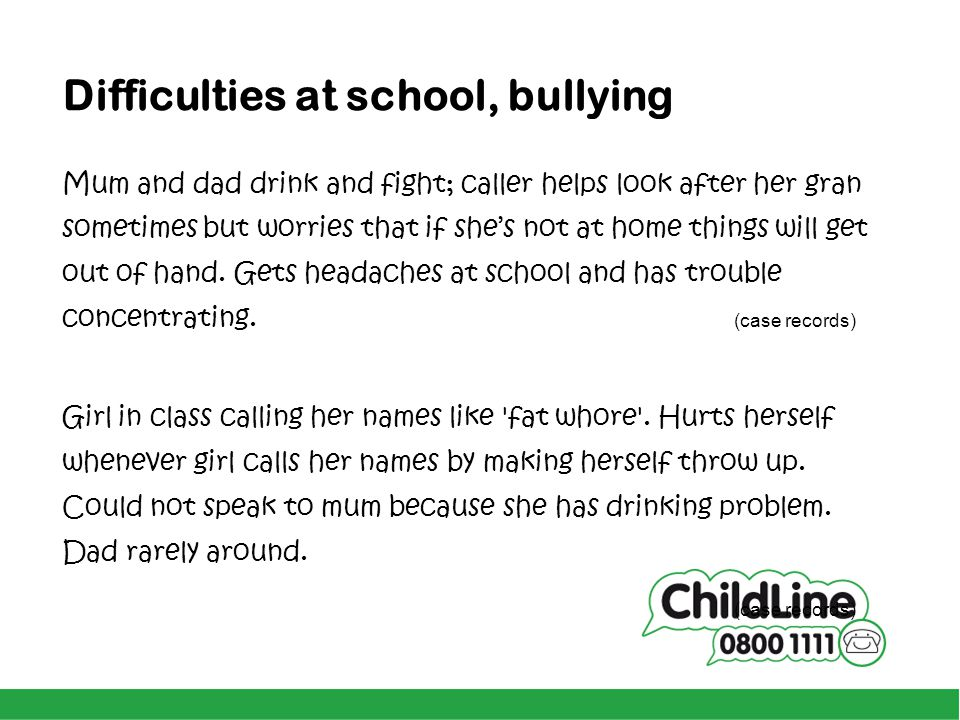Difficulties at school, bullying