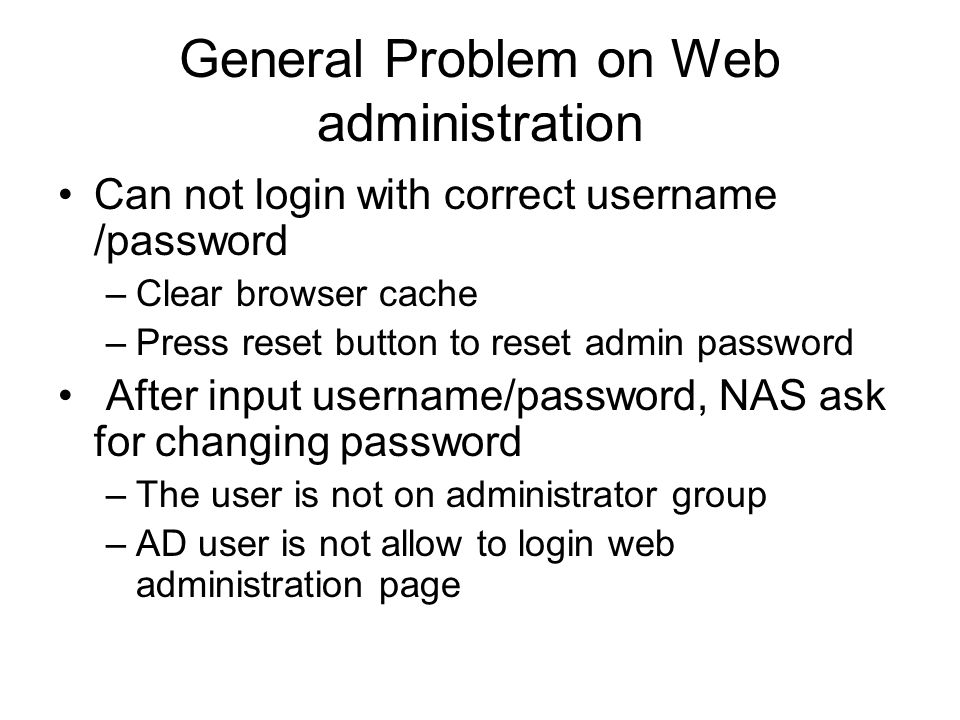 General Problem on Web administration