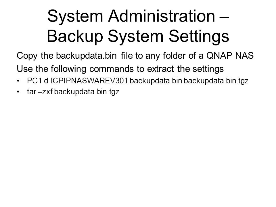 System Administration – Backup System Settings