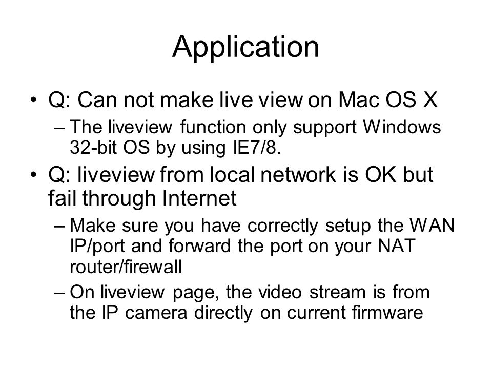 Application Q: Can not make live view on Mac OS X