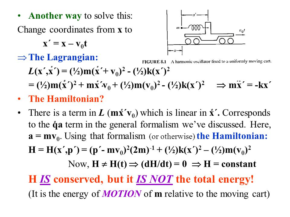 H IS conserved, but it IS NOT the total energy!