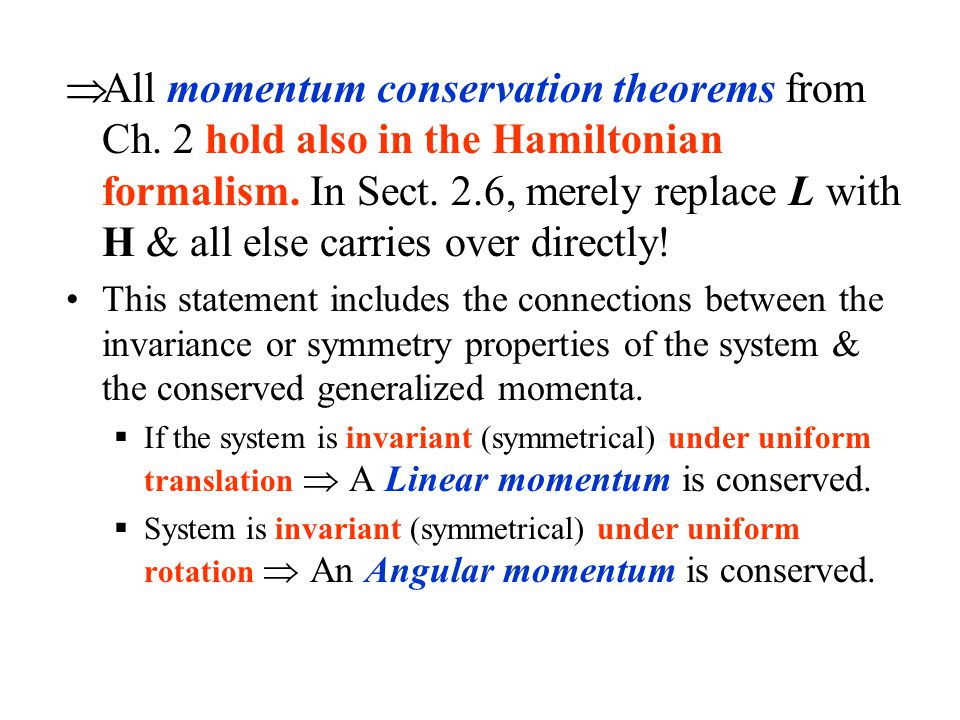 All momentum conservation theorems from Ch