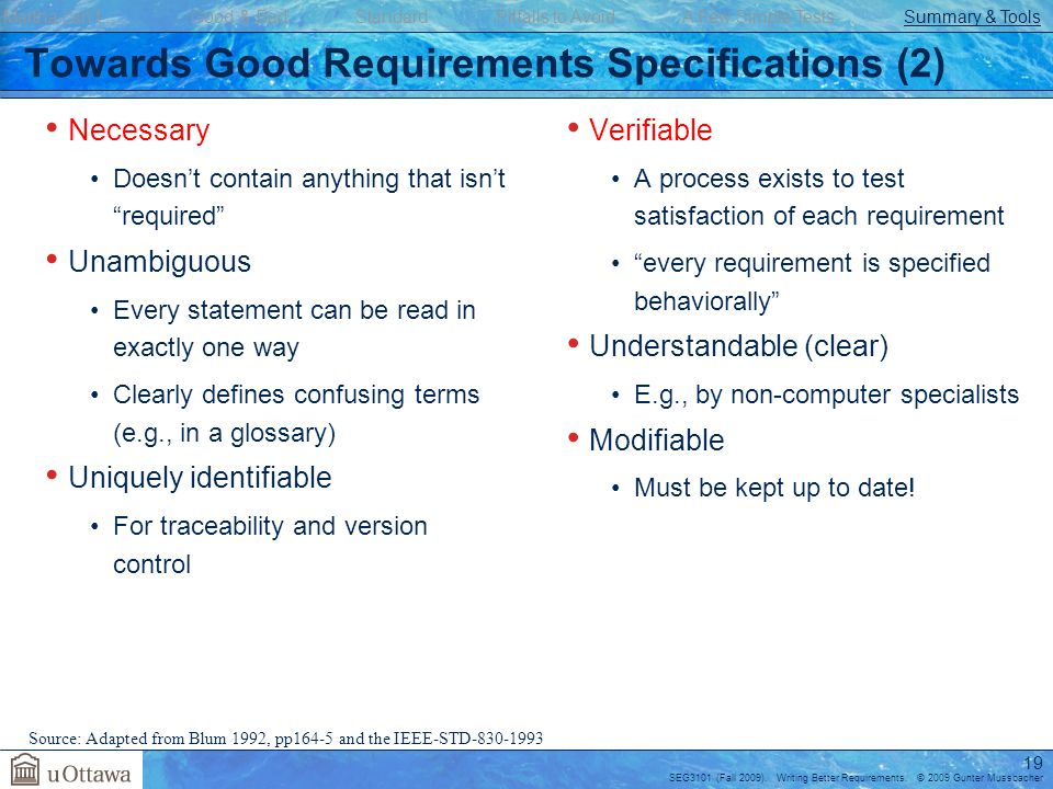 Towards Good Requirements Specifications (2)