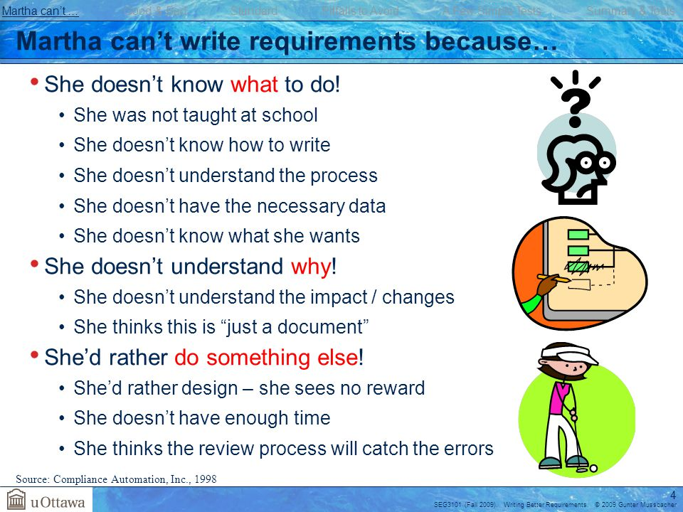 Martha can't write requirements because…