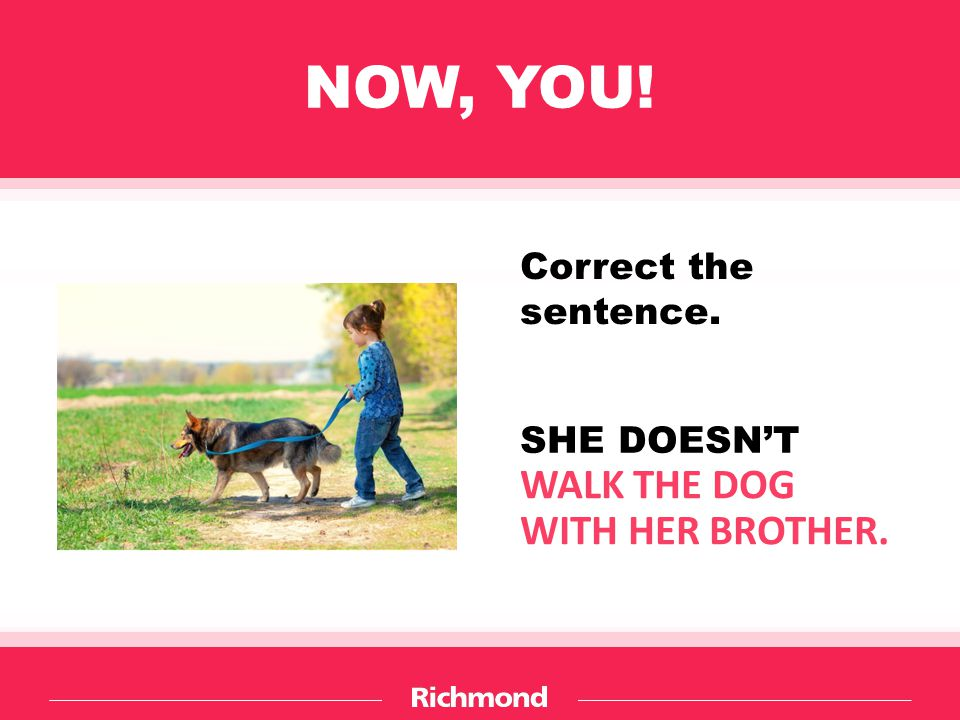 NOW, YOU! WALK THE DOG WITH HER BROTHER. Correct the sentence.