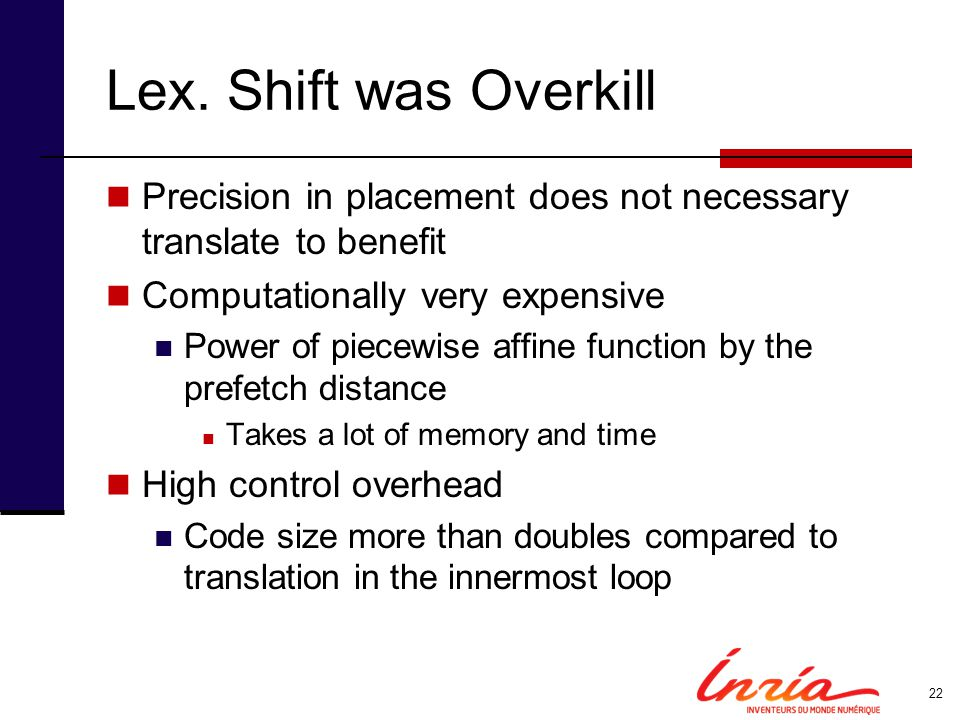 Lex. Shift was Overkill Precision in placement does not necessary translate to benefit. Computationally very expensive.