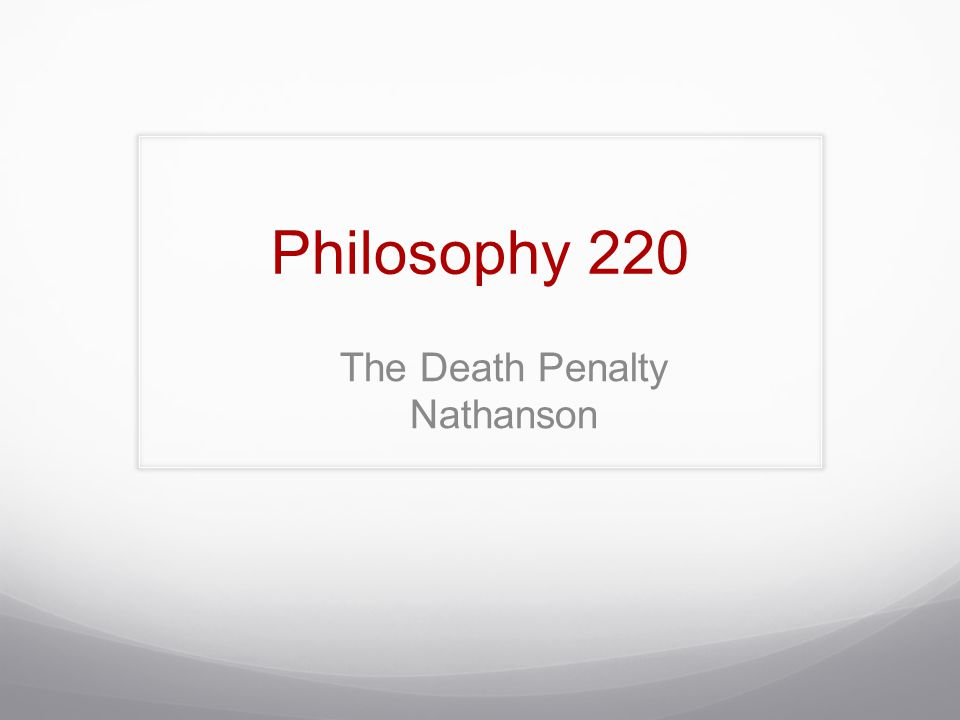 The Death Penalty Nathanson