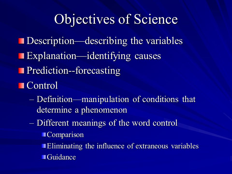 Objectives of Science Description—describing the variables