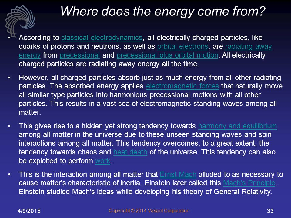 Where does the energy come from