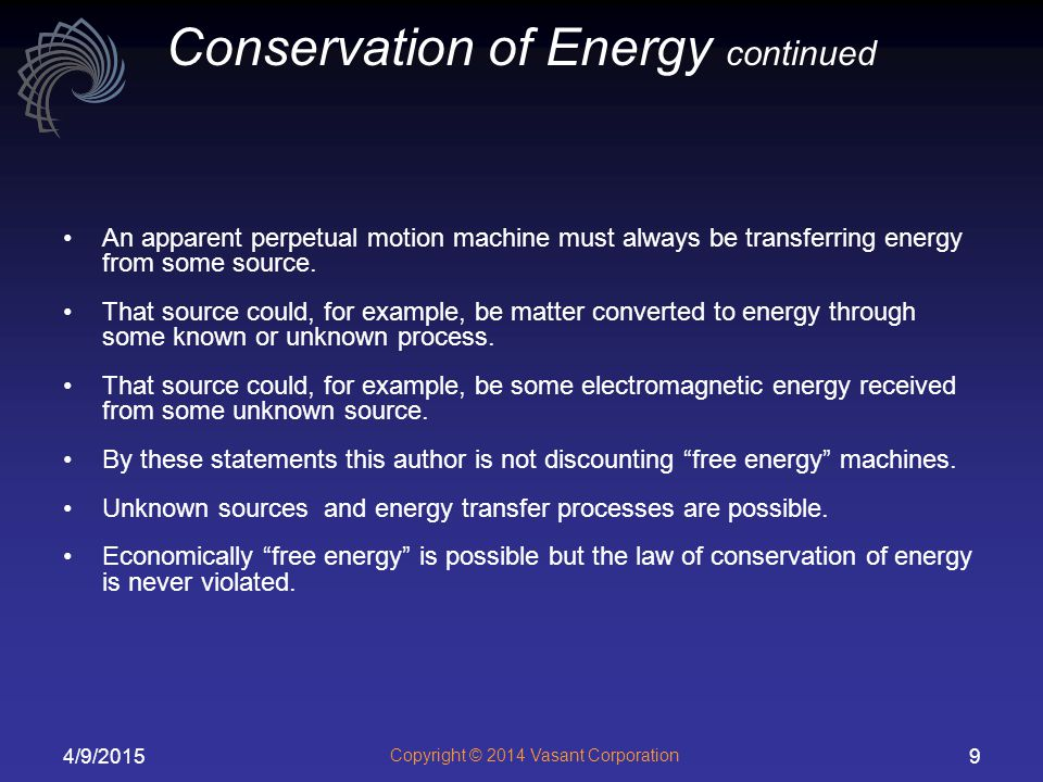 Conservation of Energy continued