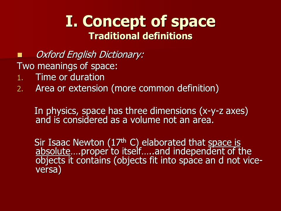 I. Concept of space Traditional definitions