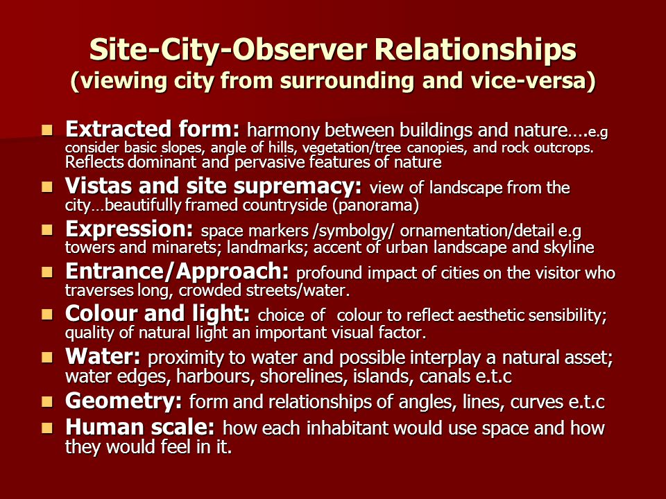 Site-City-Observer Relationships (viewing city from surrounding and vice-versa)