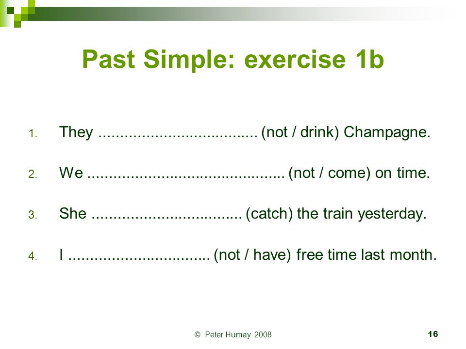 Past Simple: exercise 1b