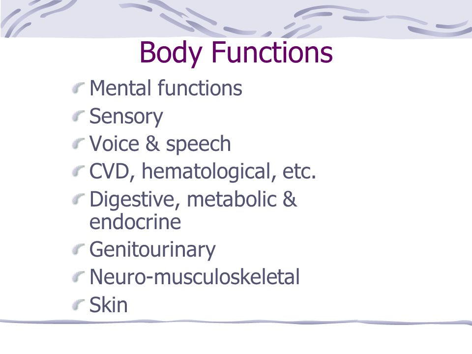 Body Functions Mental functions Sensory Voice & speech