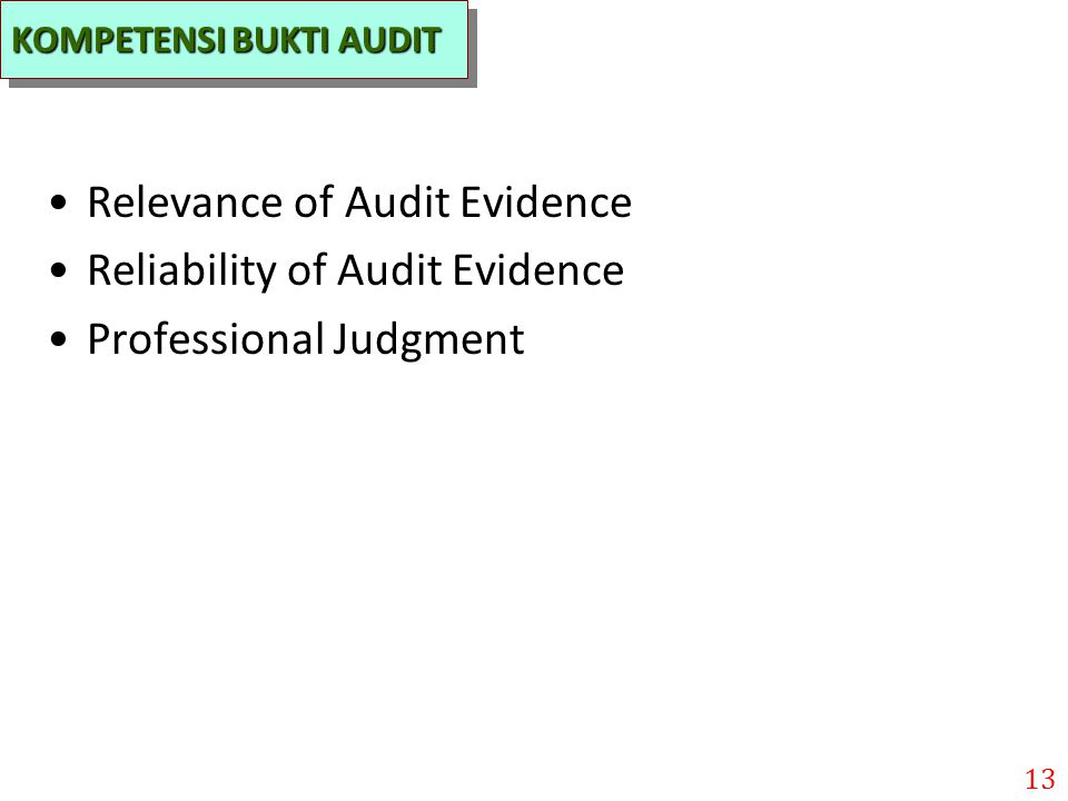 Relevance of Audit Evidence Reliability of Audit Evidence