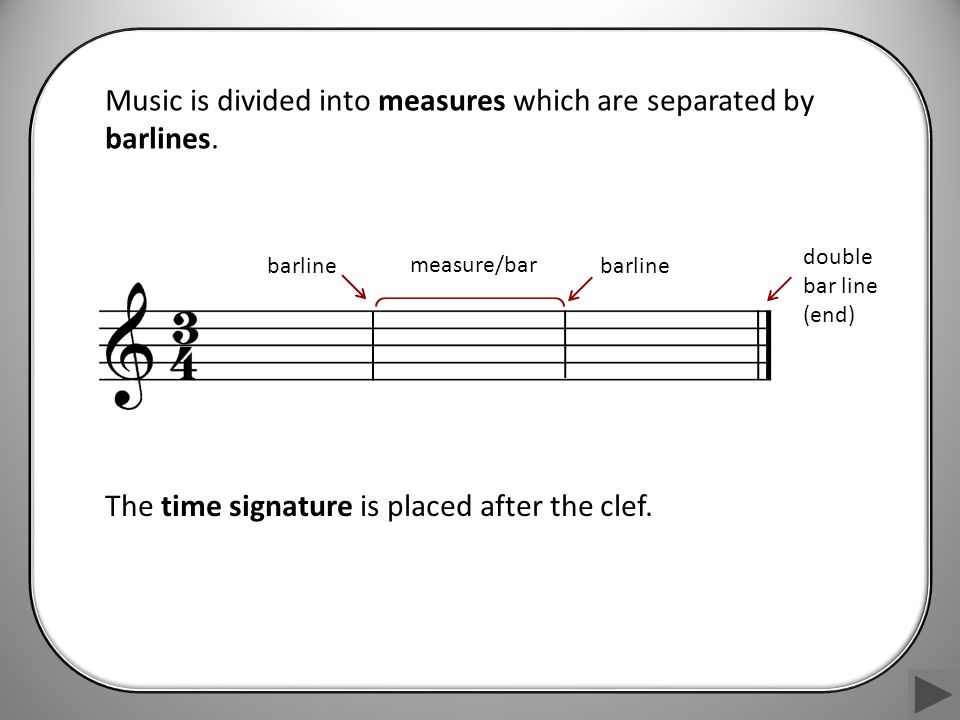 Music is divided into measures which are separated by barlines.